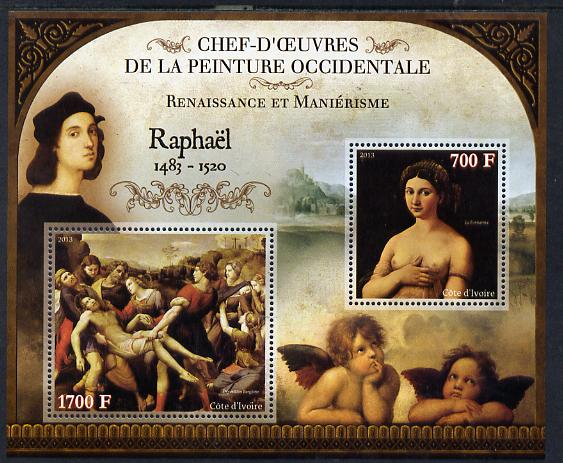 Ivory Coast 2013 Art Masterpieces from the Western World - Renaissance & Mannerism - Raphael perf sheetlet containing 2 values unmounted mint