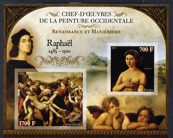 Ivory Coast 2013 Art Masterpieces from the Western World - Renaissance & Mannerism - Raphael imperf sheetlet containing 2 values unmounted mint