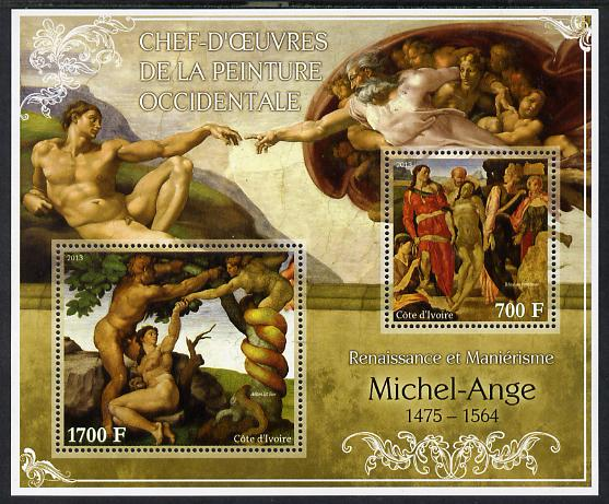 Ivory Coast 2013 Art Masterpieces from the Western World - Renaissance & Mannerism - Michelangelo perf sheetlet containing 2 values unmounted mint