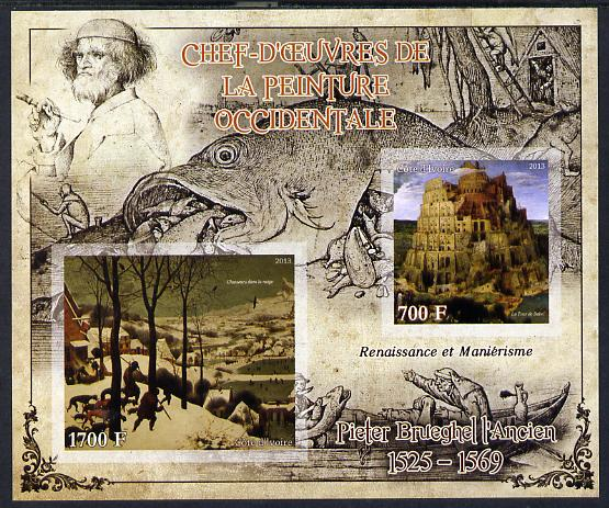 Ivory Coast 2013 Art Masterpieces from the Western World - Renaissance & Mannerism - Pieter Brueghel imperf sheetlet containing 2 values unmounted mint