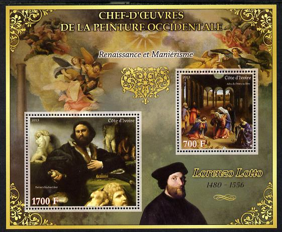 Ivory Coast 2013 Art Masterpieces from the Western World - Renaissance & Mannerism - Lorenzo Lotto perf sheetlet containing 2 values unmounted mint