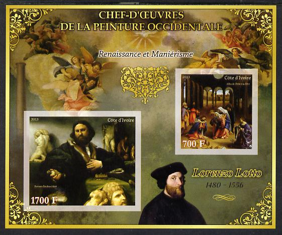 Ivory Coast 2013 Art Masterpieces from the Western World - Renaissance & Mannerism - Lorenzo Lotto imperf sheetlet containing 2 values unmounted mint