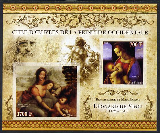 Ivory Coast 2013 Art Masterpieces from the Western World - Renaissance & Mannerism - Leonardo da Vinci imperf sheetlet containing 2 values unmounted mint