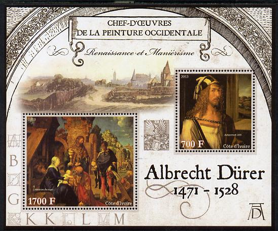 Ivory Coast 2013 Art Masterpieces from the Western World - Renaissance & Mannerism - Albrecht Durer perf sheetlet containing 2 values unmounted mint