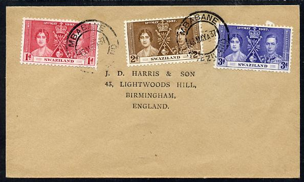 Swaziland 1937 KG6 Coronation set of 3 on plain cover with first day cancel addressed to the forger, J D Harris.  Harris was imprisoned for 9 months after Robson Lowe exposed him for applying forged first day cancels to Coronation covers (details supplied).