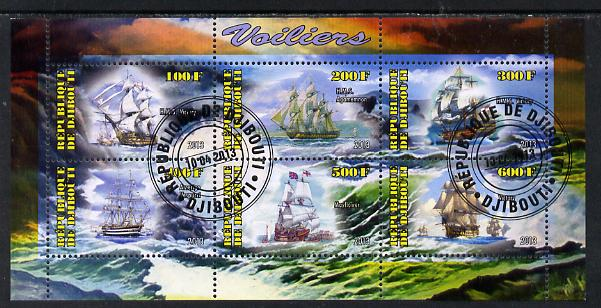 Djibouti 2013 Sailing Ships #1 perf sheetlet containing 6 values cto used