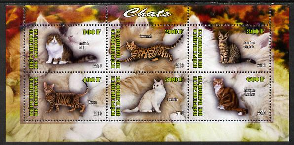 Djibouti 2013 Domestic Cats #2 perf sheetlet containing 6 values unmounted mint