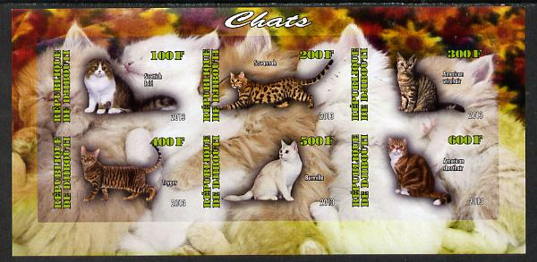 Djibouti 2013 Domestic Cats #2 imperf sheetlet containing 6 values unmounted mint