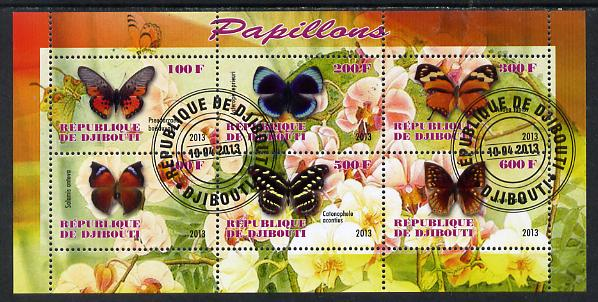Djibouti 2013 Butterflies #3 perf sheetlet containing 6 values cto used