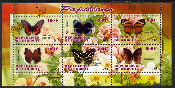 Djibouti 2013 Butterflies #3 perf sheetlet containing 6 values unmounted mint