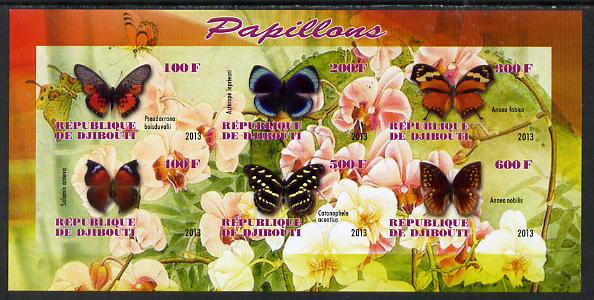 Djibouti 2013 Butterflies #3 imperf sheetlet containing 6 values unmounted mint