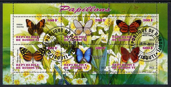 Djibouti 2013 Butterflies #4 perf sheetlet containing 6 values cto used