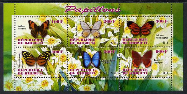 Djibouti 2013 Butterflies #4 perf sheetlet containing 6 values unmounted mint