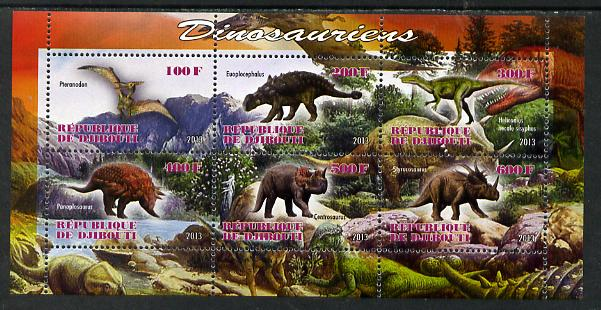 Djibouti 2013 Dinosaurs #2 perf sheetlet containing 6 values unmounted mint