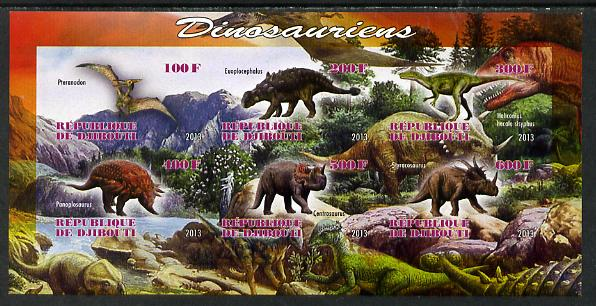 Djibouti 2013 Dinosaurs #2 imperf sheetlet containing 6 values unmounted mint