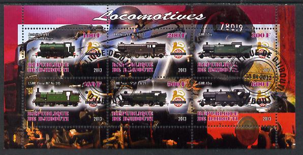 Djibouti 2013 British Steam Locomotives #2 perf sheetlet containing 6 values cto used