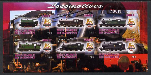Djibouti 2013 British Steam Locomotives #2 imperf sheetlet containing 6 values unmounted mint