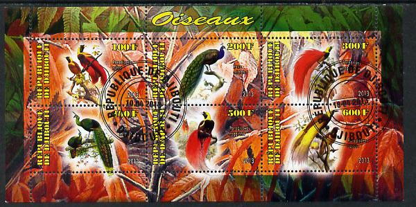 Djibouti 2013 Birds of Paradise perf sheetlet containing 6 values cto used