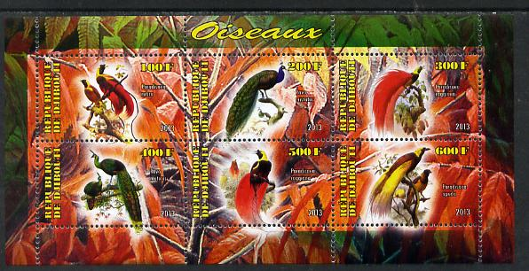 Djibouti 2013 Birds of Paradise perf sheetlet containing 6 values unmounted mint