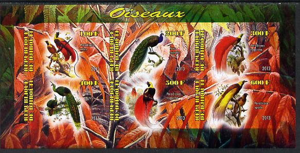 Djibouti 2013 Birds of Paradise imperf sheetlet containing 6 values unmounted mint