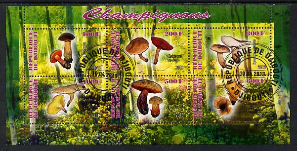 Djibouti 2013 Fungi #3 perf sheetlet containing 6 values cto used