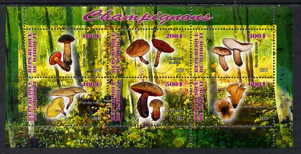 Djibouti 2013 Fungi #3 perf sheetlet containing 6 values unmounted mint