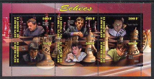 Djibouti 2013 Chess Masters perf sheetlet containing 6 values cto used