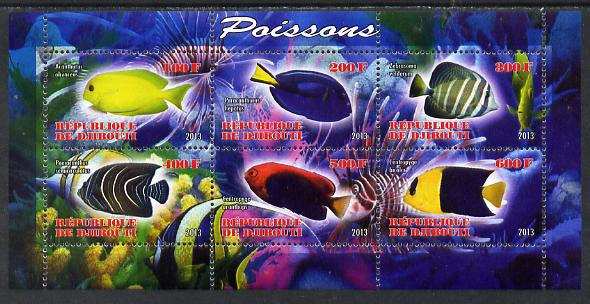 Djibouti 2013 Fish perf sheetlet containing 6 values unmounted mint