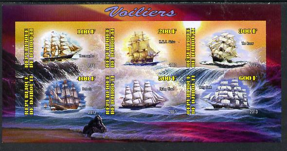 Djibouti 2013 Sailing Ships #2 imperf sheetlet containing 6 values unmounted mint