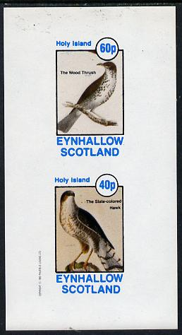 Eynhallow 1982 Birds #13 (Hawk & Thrush) imperf  set of 2 values (40p & 60p) unmounted mint