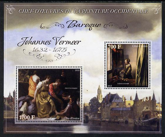 Ivory Coast 2013 Art Masterpieces from the Western World - Baroque Period - Johannes Vermeer perf sheetlet containing 2 values unmounted mint