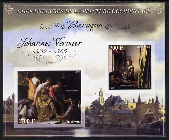 Ivory Coast 2013 Art Masterpieces from the Western World - Baroque Period - Johannes Vermeer imperf sheetlet containing 2 values unmounted mint