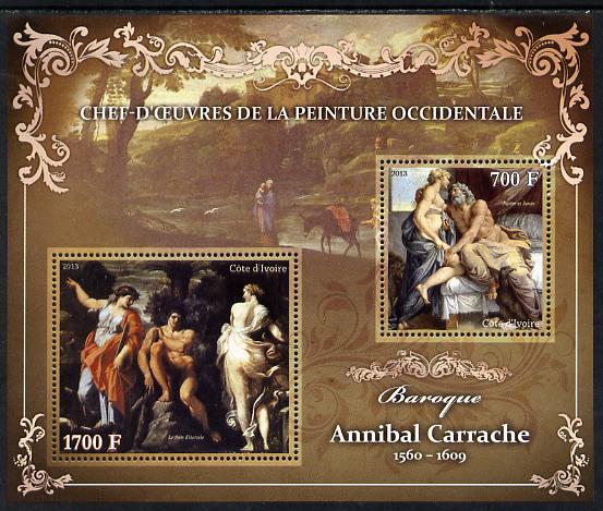 Ivory Coast 2013 Art Masterpieces from the Western World - Baroque Period - Annibale Carracci perf sheetlet containing 2 values unmounted mint