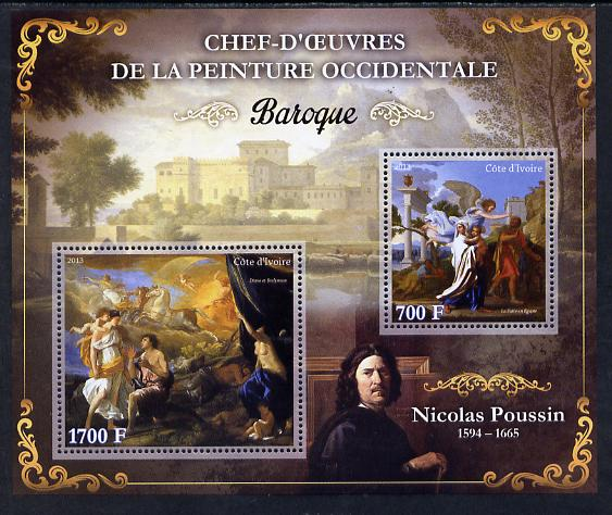 Ivory Coast 2013 Art Masterpieces from the Western World - Baroque Period - Nicolas Poussin perf sheetlet containing 2 values unmounted mint