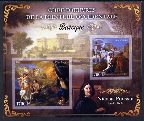 Ivory Coast 2013 Art Masterpieces from the Western World - Baroque Period - Nicolas Poussin imperf sheetlet containing 2 values unmounted mint