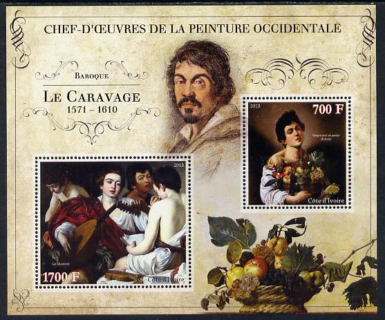 Ivory Coast 2013 Art Masterpieces from the Western World - Baroque Period - Caravaggio perf sheetlet containing 2 values unmounted mint