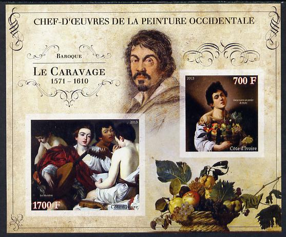 Ivory Coast 2013 Art Masterpieces from the Western World - Baroque Period - Caravaggio imperf sheetlet containing 2 values unmounted mint