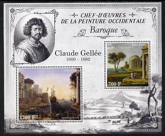 Ivory Coast 2013 Art Masterpieces from the Western World - Baroque Period - Claude Lorrain (Gallee) perf sheetlet containing 2 values unmounted mint