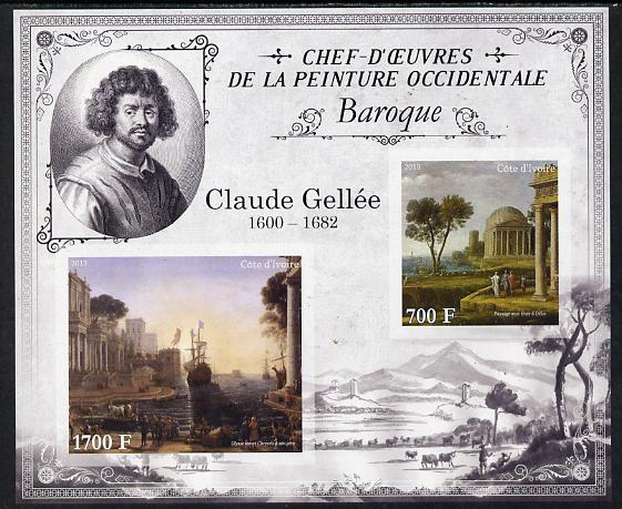 Ivory Coast 2013 Art Masterpieces from the Western World - Baroque Period - Claude Lorrain (Gallee) imperf sheetlet containing 2 values unmounted mint