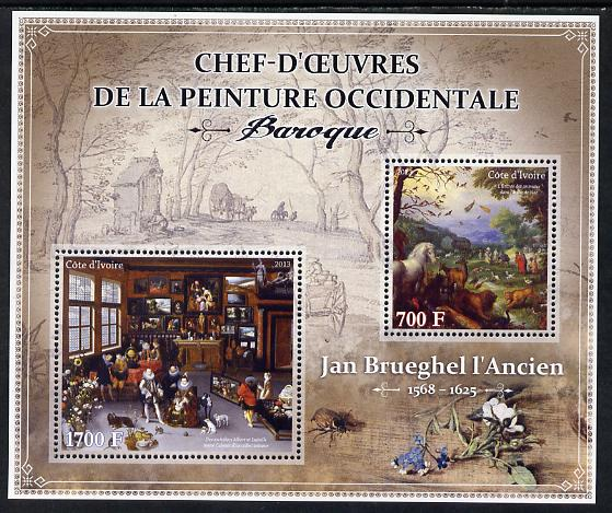 Ivory Coast 2013 Art Masterpieces from the Western World - Baroque Period - Jan Brueghel the Elder perf sheetlet containing 2 values unmounted mint