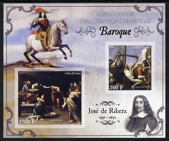 Ivory Coast 2013 Art Masterpieces from the Western World - Baroque Period - Jose de Ribera imperf sheetlet containing 2 values unmounted mint