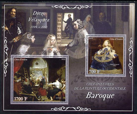 Ivory Coast 2013 Art Masterpieces from the Western World - Baroque Period - Diego Velazquez perf sheetlet containing 2 values unmounted mint
