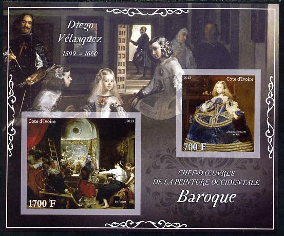 Ivory Coast 2013 Art Masterpieces from the Western World - Baroque Period - Diego Velazquez imperf sheetlet containing 2 values unmounted mint