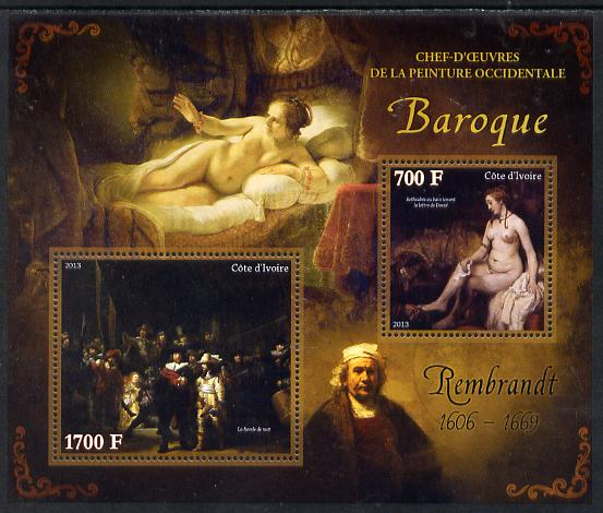Ivory Coast 2013 Art Masterpieces from the Western World - Baroque Period - Rembrandt perf sheetlet containing 2 values unmounted mint