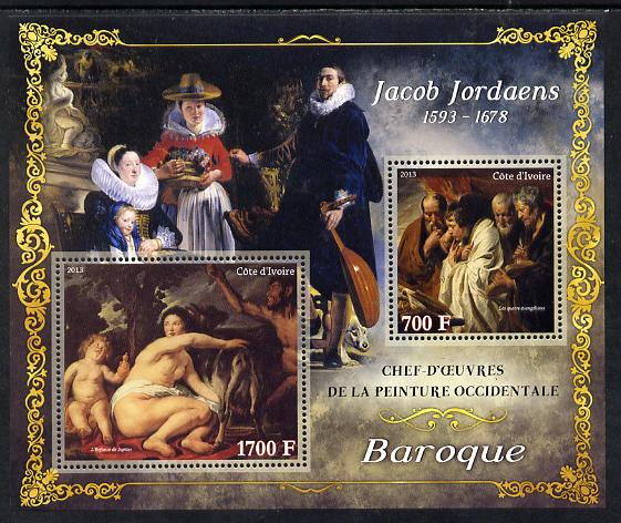 Ivory Coast 2013 Art Masterpieces from the Western World - Baroque Period - Jacob Jordaens perf sheetlet containing 2 values unmounted mint