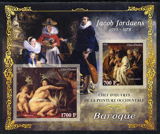 Ivory Coast 2013 Art Masterpieces from the Western World - Baroque Period - Jacob Jordaens imperf sheetlet containing 2 values unmounted mint