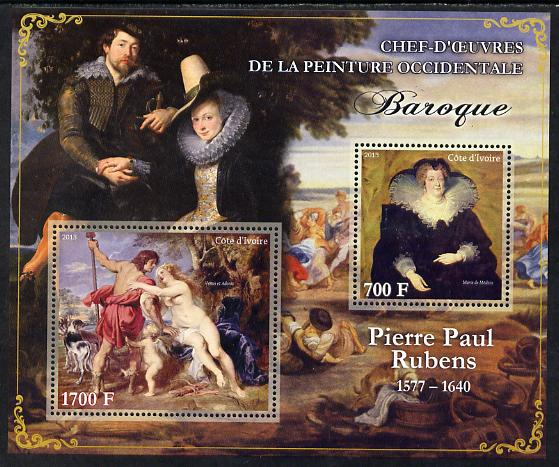 Ivory Coast 2013 Art Masterpieces from the Western World - Baroque Period - Peter Paul Rubens perf sheetlet containing 2 values unmounted mint