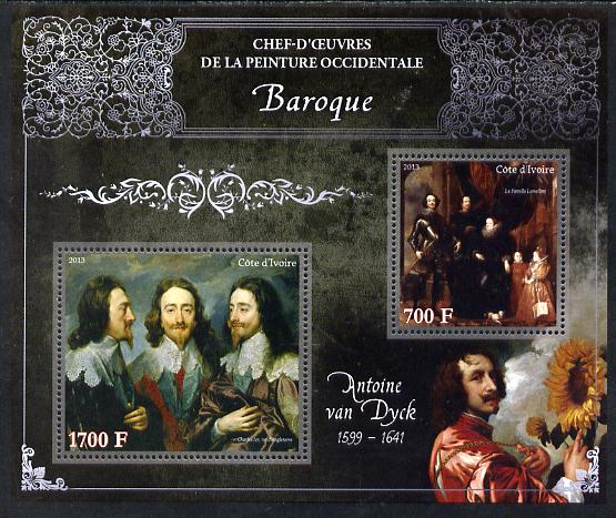 Ivory Coast 2013 Art Masterpieces from the Western World - Baroque Period - Anthony Van Dyck perf sheetlet containing 2 values unmounted mint