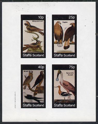 Staffa 1982 Birds #30 (Eagles, Owls etc) imperf  set of 4 values (10p to 75p) unmounted mint