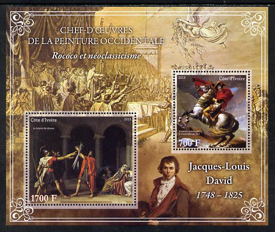 Ivory Coast 2013 Art Masterpieces from the Western World - Rococo & Neoclassicism - Jacques-Louis David perf sheetlet containing 2 values unmounted mint